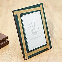 Wood photo frame, 'Turquoise Mod' (4x6) - Handcrafted Andean Wood Photo Frame (4 x 6 in)