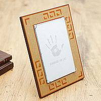 Wood photo frame, 'Ginger Geometry' (4x6) - Orange and Tan Handcrafted Wood Photo Frame (4 x 6 in)