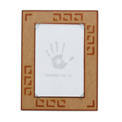 Orange and Tan Handcrafted Wood Photo Frame (4 x 6 in)