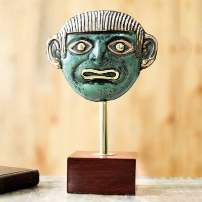 Copper and bronze sculpture, 'Man from Sipan' - Pre-Hispanic Sipan Mask Copper and Bronze Sculpture