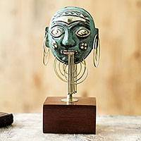 Copper and bronze sculpture, 'Amazon Ceremonial Mask' - Pre-Hispanic Amazon Theme Copper and Bronze Mask Sculpture