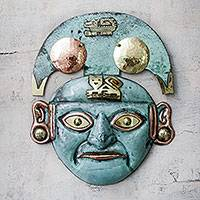 Copper and bronze mask, 'Moche Cat Man' - Handmade Moche Replica Copper Mask Depicting Cats