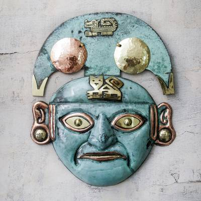 Copper and bronze mask, Moche Cat Man