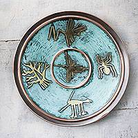 Copper decorative plate, 'Images from Nazca' - Handcrafted Decorative Copper Plate with Bronze Nazca Images