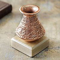 Copper plated bronze paperweight, 'Inca Water Jar' - Andean Inca Style Copper on Bronze Paperweight Sculpture