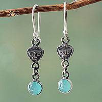 Opal dangle earrings, 'Moche Mask' - Inca Theme Handmade Silver and Opal Dangle Earrings