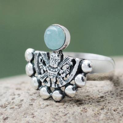 the sapphire ring company reviews - Hand Made Inca Theme Pale Green Andean Opal Silver Ring