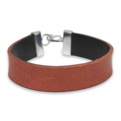 Artisan Crafted Orange Leather and Silver Wristband Bracelet