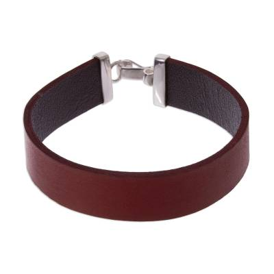 Red Leather Wristband Bracelet with Sterling Silver Clasp