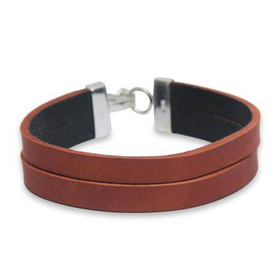 Double Leather Wristband Bracelet Crafted by Hand in Peru