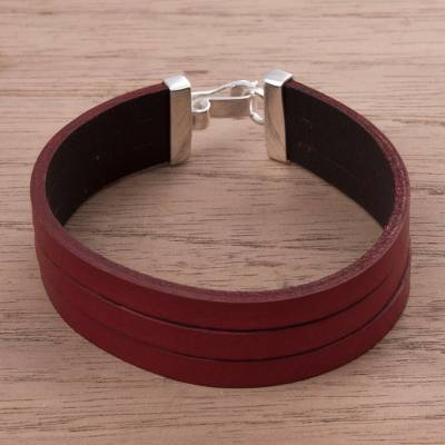 Leather wristband bracelet, 'Red Company' - Triple Red Leather Wristband Bracelet Crafted by Hand