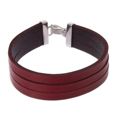 Triple Red Leather Wristband Bracelet Crafted by Hand