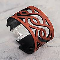 Leather wristband bracelet, 'Continuity in Orange' - Waves on Wide Leather Wristband Bracelet with Silver Clasp