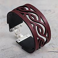 Leather wristband bracelet, 'Continuity in Red' - Wide Leather Wristband Bracelet with Sterling Silver Clasp