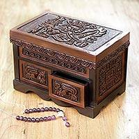 Cedar and leather jewelry box, 'World of the Inca' - Inca Theme Hand Tooled Brown Leather and Cedar jewellery Box