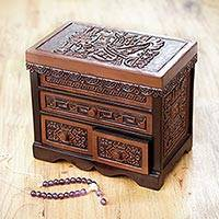 Cedar and leather jewelry box, 'Inca Icons' - Inca Theme Brown Tooled Leather and Cedar Jewelry Box