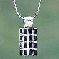 Sodalite pendant necklace, 'Honeycomb'