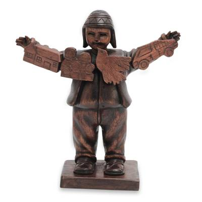 Cedar sculpture, 'Lucky Ekeko' - Andean Ekeko Cedar Figurine for Luck and Abundance