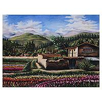 'Landscapes from My Homeland' - Realistic Peruvian Landscape Painting Signed by Artist