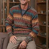 Men's 100% alpaca sweater, 'Voyager' - Peruvian 100% Alpaca Men's Zip-Turtleneck Knit Sweater