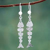 Sterling silver dangle earrings, 'Pacific Seas' - Fish Sterling Silver Earrings Handmade Jewelry from Peru