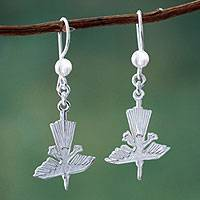 Sterling silver dangle earrings, 'Legendary Hummingbirds' - Nazca Lines Hummingbird Sterling Silver Earrings from Peru