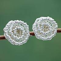 Sterling silver flower button earrings, 'Swirling Blooms' - Peruvian Floral Sterling Silver Artisan Crafted Earrings