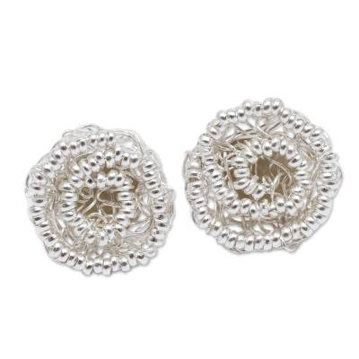 Peruvian Floral Sterling Silver Artisan Crafted Earrings