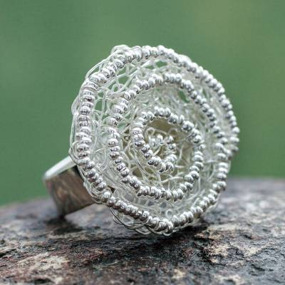 Peru Fair Trade Floral Sterling Silver Artisan Crafted Ring