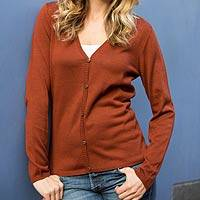 100% cotton cardigan, 'Cherry Tea' - Lightweight Off-Red Cotton Cardigan from Peru