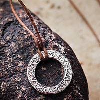 Sterling silver pendant necklace, 'Exalted Glow' - Handmade Andean Sterling Silver Pendant Necklace