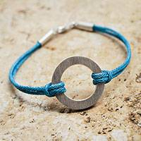 Sterling silver cord bracelet, 'Blue Charm' - Andean Sterling Silver Blue Cord Artisan Crafted Bracelet