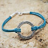 Sterling silver cord bracelet, 'Exalted Blue' - Sterling Silver Artisan Crafted Andean Blue Cord Bracelet