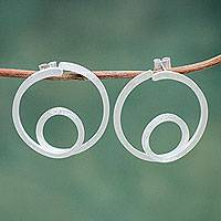 Sterling silver button earrings, 'Orbits' - Peruvian Fair Trade Brushed Sterling Silver Button Earrings