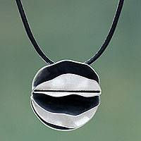 Sterling silver pendant necklace, 'Dark Petals' - Artisan Crafted Necklace Sterling Silver on Leather Cord