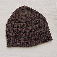 100% alpaca hat, 'Ayacucho Riches' - Brown 100% Alpaca Hat Knitted by Hand in Peru