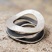 Sterling silver band ring, 'Waves' - Peruvian Sterling Silver Artisan Crafted Band Ring