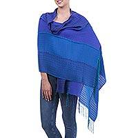 Alpaca blend shawl, 'Maritime Blues' - Alpaca Blend Shawl Wrap with Patterned Blue Hues from Peru