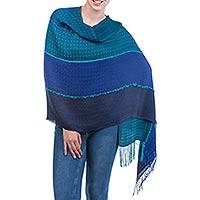 Alpaca shawl, 'Emerald Blues' - Blue Green Patterned Alpaca Shawl Wrap from Peru