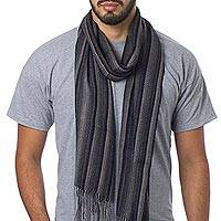 Men's alpaca and silk scarf, 'Distinguished Black' - Men's Alpaca and Silk Scarf in Black and Grey Herringbone
