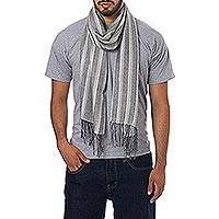 Men's alpaca and silk scarf, 'Distinguished Grey - Men's Alpaca and Silk Scarf in Grey and Beige Herringbone