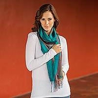Alpaca and silk scarf, 'Cuzco Symphony' - Women's Multi Color Alpaca and Silk Scarf Wrap from Peru