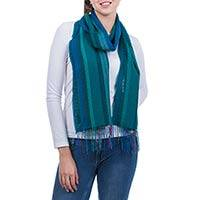 Alpaca and silk blend scarf, 'Green Arequipa Fantasy' - Alpaca and Silk Blend Scarf in Blue and Green