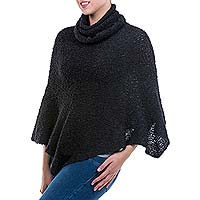 Alpaca blend boucle poncho, Cuzco Black - Black Turtleneck Poncho in Soft Alpaca Blend Boucle