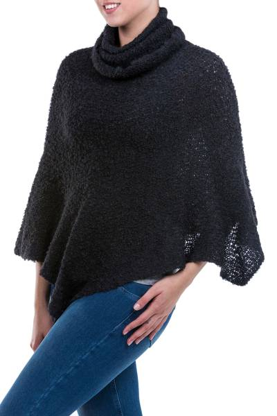 Black Turtleneck Poncho in Soft Alpaca Blend Boucle
