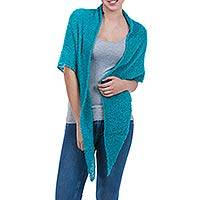 Alpaca shawl, 'Lima Turquoise' - Alpaca Blend Boucle Triangular Shawl Wrap from Peru