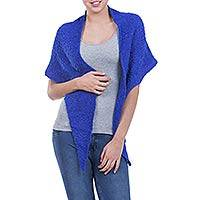 Alpaca blend shawl, 'Lima Blue' - Blue Triangular Boucle Wrap Shawl in Alpaca Blend