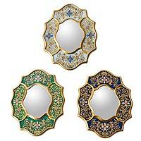 Mirrors, 'Midday and Midnight' (set of 3) - Reverse Painted Glass Mirrors (Set of 3)