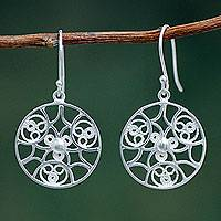 Sterling silver dangle earrings, 'Gossamer' (Peru)