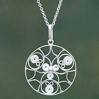 Sterling silver pendant necklace, 'Gossamer' (Peru)